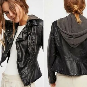 Free People Black Faux Leather Jacket with Hood